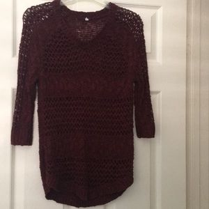 Sweaters - Burgundy large loop + cable knit sweater